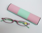 Mini Reading Glasses Pink and Green with Magic Case
