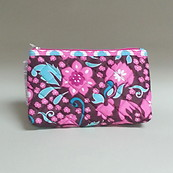 Modella Cosmetics Bag make up Teal Hot Pink and White Flowers