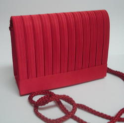 Red Small Pleated Evening Purse