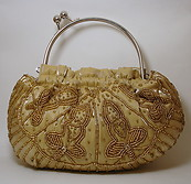Gold Beaded Clutch Round Handbag