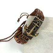 Mixed Browns Adjustable Synthetic Leather Bronze Metal Color Anchor Bracelet