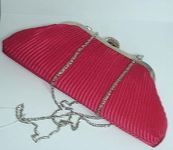 Red Pleated Clutch Handbag