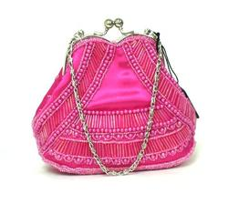 Hot Pink Beaded Clutch Handbag