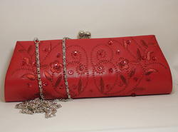 Red Leather Clutch Handbag