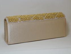 Beige Evening Bag with Wood Beads