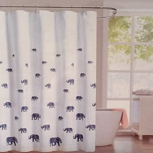 Envogue Bosworth luxury fabric shower curtain white w/blue elephants 100% Cotton