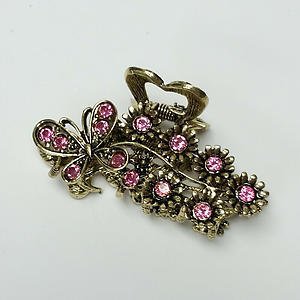 Butterfly & Flowers Hair Claw Clip Gold Metal w/ Pink Crystal Rhinestones