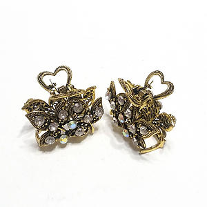 Hair Claw Clip Gold Metal Aurora Borealis Crystal Rhinestones Ivy Leaves Heart 2