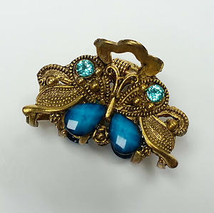 Butterfly Hair Claw Clip Gold Metal with Aqua Rhinestones