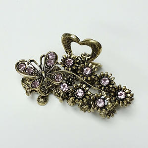 Butterfly Flower Hair Claw Clip Gold Metal Light Purple/Pink Crystal Rhinestone