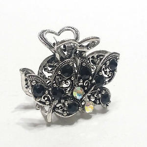 Hair Claw Clip Silver Metal Jet Black Crystal Rhinestones Ivy Leaves and Heart