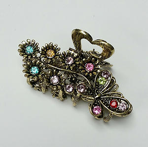 Butterfly & Flowers Hair Claw Clip Gold Metal w/ Multicolor Crystal Rhinestones